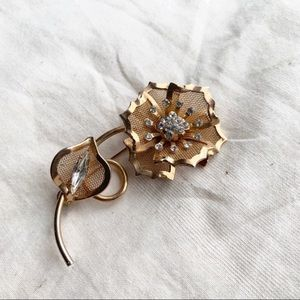 Vintage Rose Brooch Gold Tone